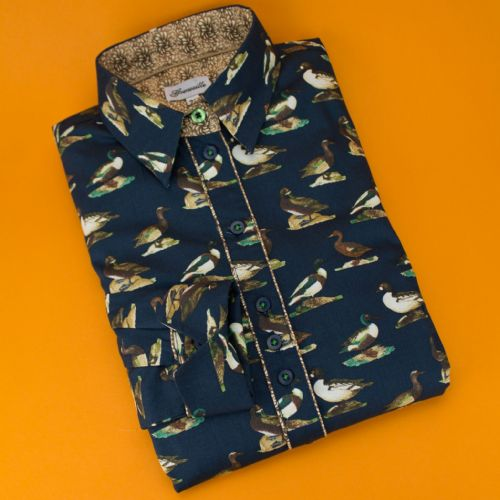 Grenouille Ladies Long Sleeve Navy Duck Print Shirt